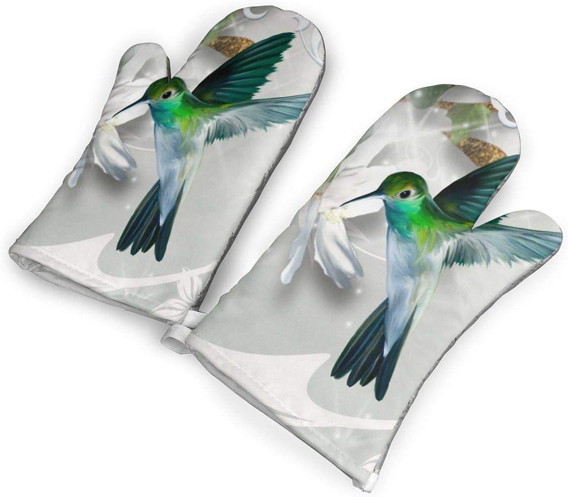 Zuoyoudf82 Hummingbird Oven Mitts and Potholders Kitchen Counter Safe Trivet Mats | Advanced Heat Resistant Oven Mitt, Non-Slip Textured Grip Pot Holders