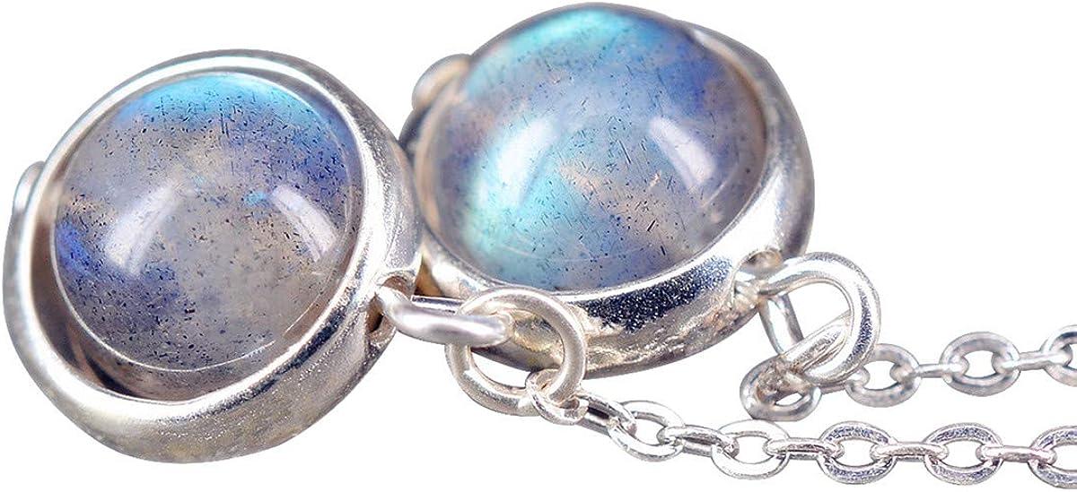 NicoWerk SOR221 - Pendientes de plata de ley 925 con piedra de luna y bola redonda con piedra