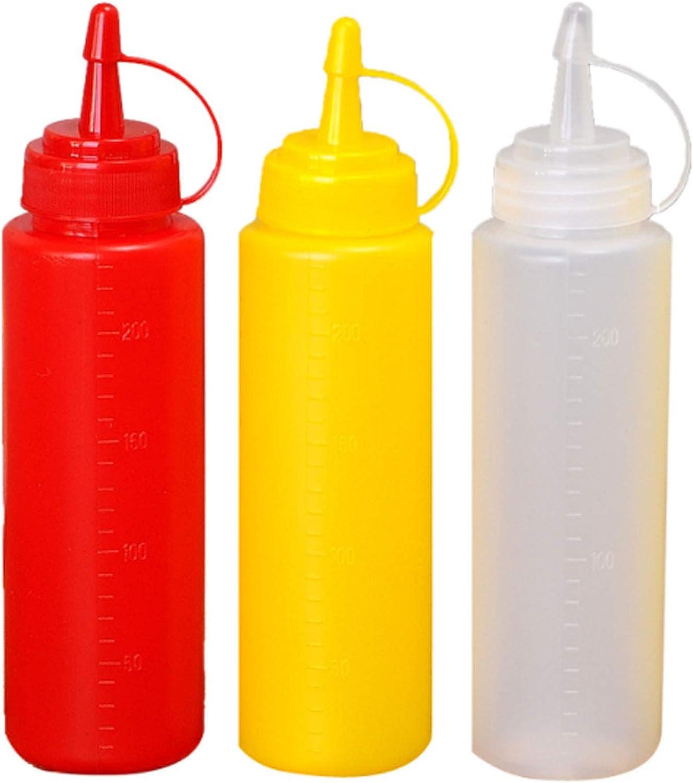 Apriete las Botellas de Salsa Botella de Salsa Botella Exprimible Botellas de Plástico de Dispensadores de Especias Botella Exprimible con Tapa Botella de Ketchup para Especias Salsa (3 piezas)