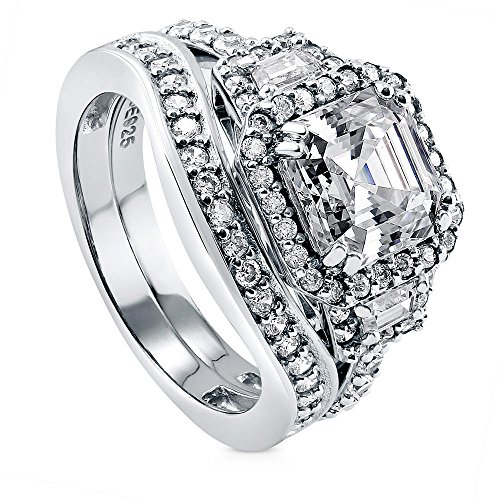 BERRICLE Rhodium Plated Silver Asscher Cut Cubic Zirconia CZ Halo Art Deco Engagement Ring Set Size 8