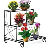 go2buy Tiered Outdoor Metal Plant Stand Wrought Iron Flower Pot Shelf Floor Style Multi Level Display Rack Black