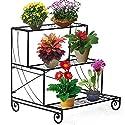 Topeakmart 3-Tier Metal Flower / Plant Stand w/Step Design Shelving System Rack, Black
