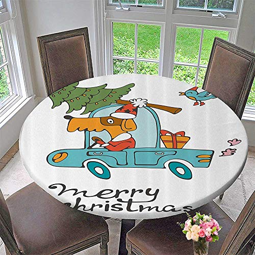 Mikihome Premium Tablecloth Blue Vintage Car Dog Driving with Santa Costume Cute Xmas Bird Tree and Gift Present 35.5