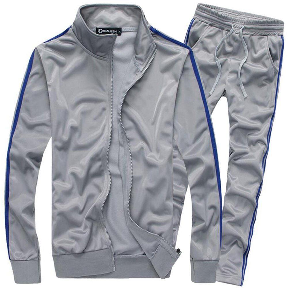 MACHLAB Men's Classic Striped Athletic Tracksuit Sports Sets Casual Sweat Suit Gray XL