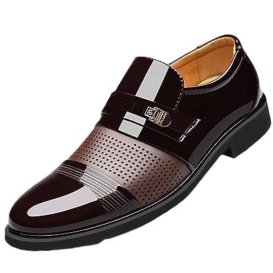 ba2cd41fd723f Feidaeu Homme Mocassins Cuir Vernis Transparent Chaussures de Ville Sans  Lacets Creux Poreuse Respirent Bloc Talon Bout Pointu Classique Commercial  Mariage ...