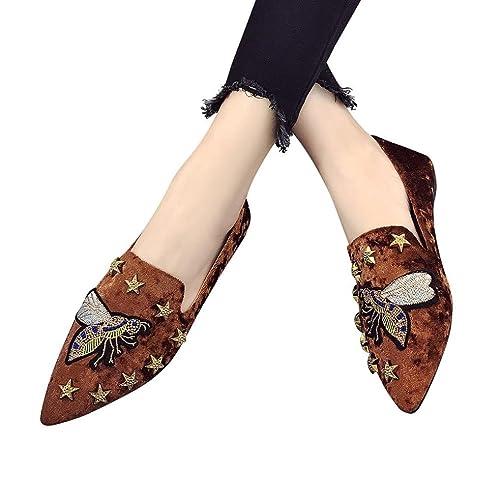 ???ABsolute Freizeitschuhe ??? Freizeitschuhe Damen Frauen Wohnungen Stickerei Wildleder Schuhe Sommer Einfach...