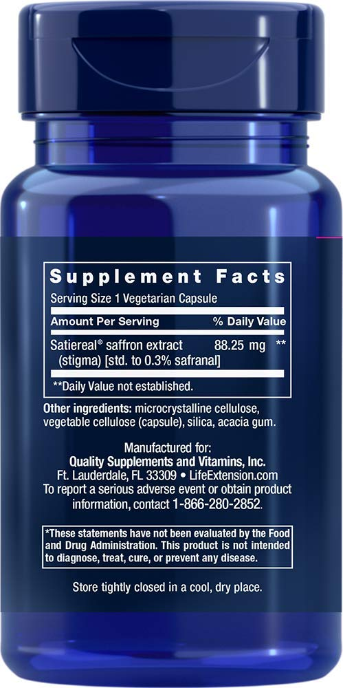 Life Extension Optimized Saffron with Satiereal, 60 Vegetarian Capsules