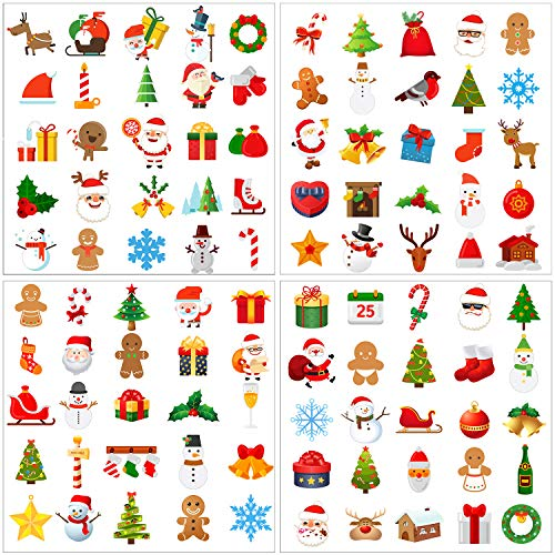 Elcoho 300 Pieces Christmas Temporary Tattoos Christmas Themed Tattoo Stickers for Christmas Holiday Decorations Supplies, Assorted 100 Styles (Christmas)