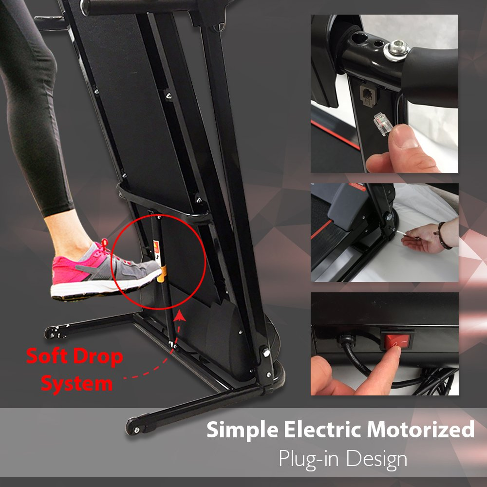 SereneLife Smart Digital Folding Exercise Machine - Electric Motorized Treadmill with Downloadable Sports App for Running & Walking - Pairs to Phones, Laptops, & Tablets via Bluetooth - SLFTRD18 by SereneLife (Image #2)