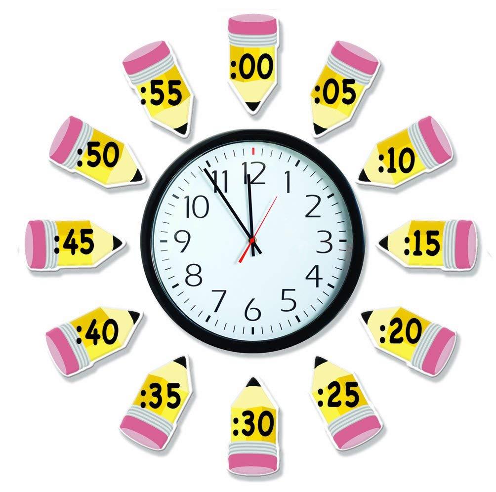 Eureka 'Telling Time' Bulletin Board Analog Clock Practice, 4pc, 17'' W x 24'' L (2 Pack)