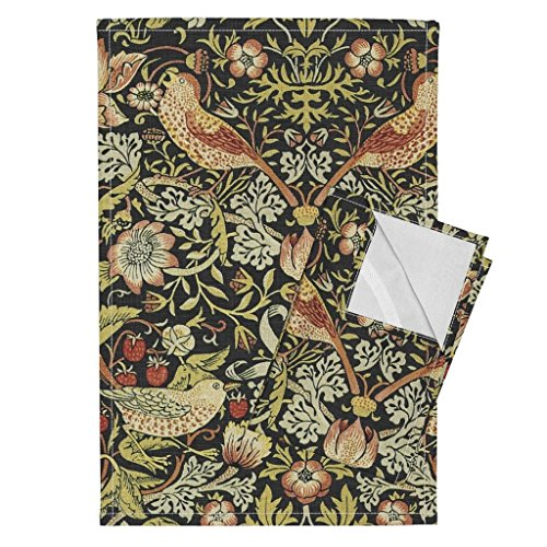Roostery William Morris Strawberry Floral Birds Classic Victorian Tapestry Tea Towels William Morris ~ Strawberry by Peacoquettedesigns Set of 2 Linen Cotton Tea Towels