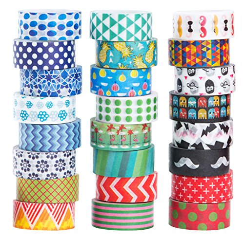 24 Rolls Washi Masking Tape Set,Decorative Craft Tape Collection for DIY and Gift Wrapping,by Mooker -