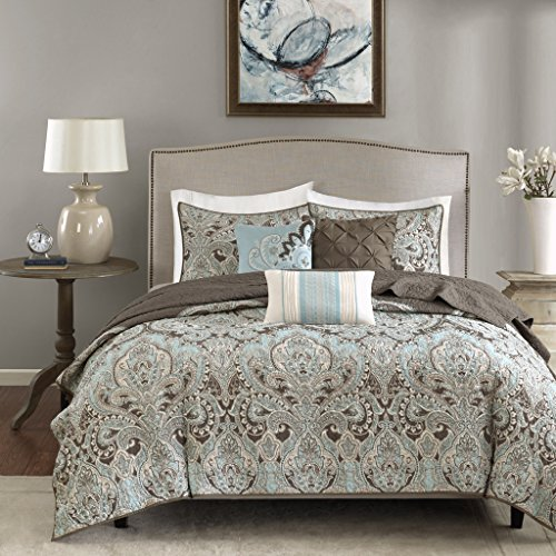 Madison Park MP13-1678 Geneva 6 Piece Quilted Coverlet Set, Brown