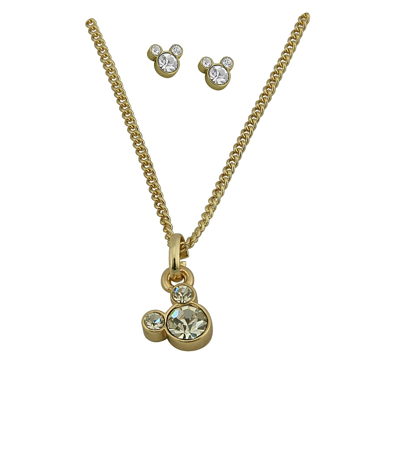 Disney ladies Gold Plated Necklace with Diamante Mickey Mouse Charm plus  Gold Plated Diamante Mickey Mouse Stud Earrings