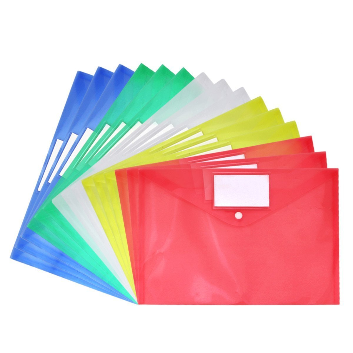 Clear Document Folder A4 Size with Snap Button and Tag Pocket,15 Pcs, Assorted Color,Blue Red Green Yellow White Waterproof Transparent File Envelope