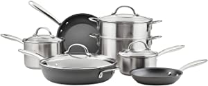 Rachael Ray Stainless Steel Professional Nonstick 11-Piece Cookware Set, Stainless Steel - 70033 (11/2020 Release)