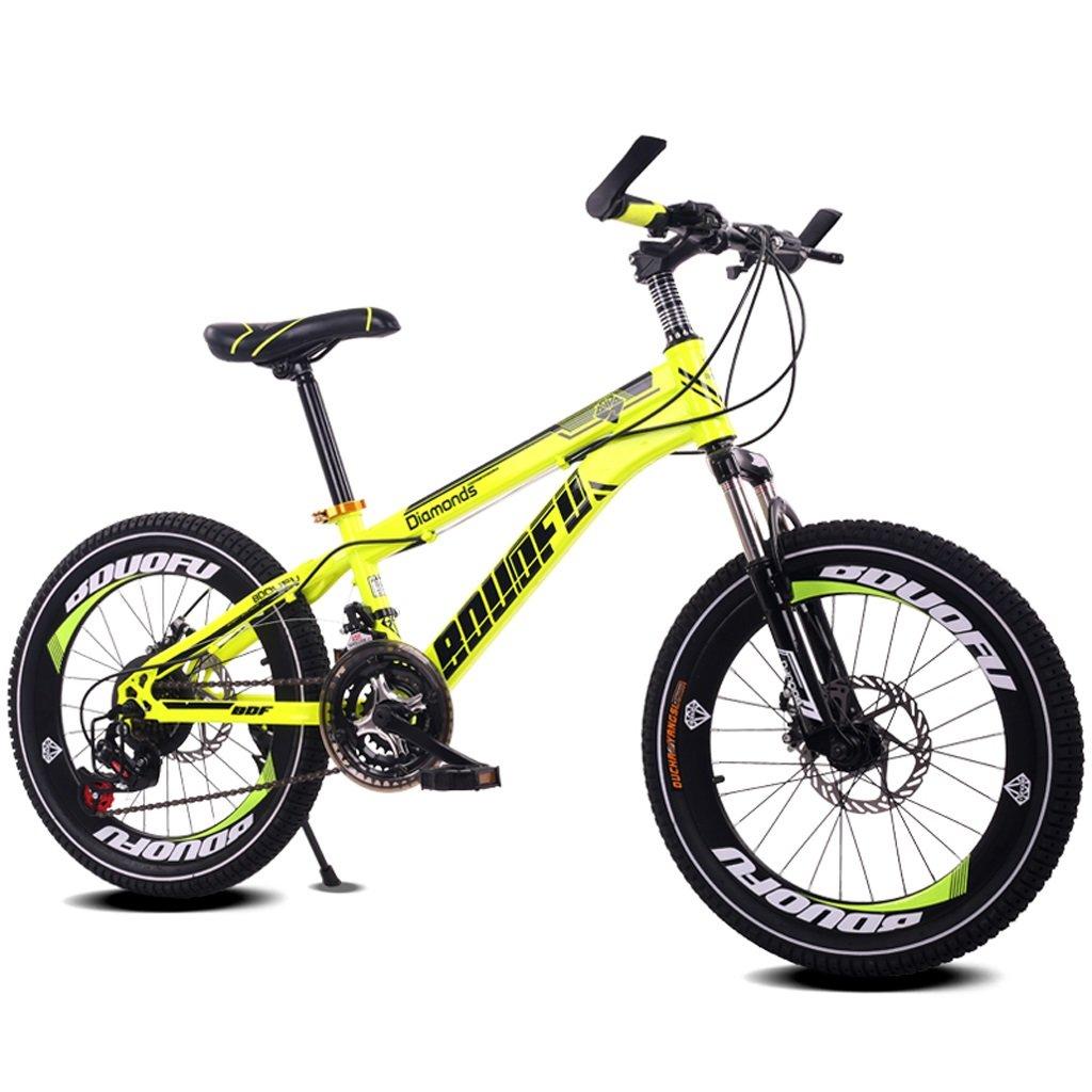 子供の自転車7-10-14歳の男の子のマウンテンバイク18/20インチのシフトの赤ちゃんキャリッジハイカーボンスチールバイク、青/黄/赤/オレンジ (Color : 20 inch yellow) B07D1JMB6B