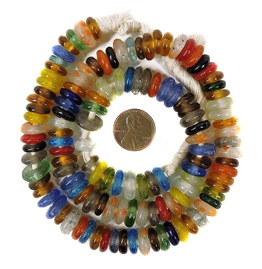 Krobo Beads Anillos de vidrio reciclado mezclados Ghana, África ...