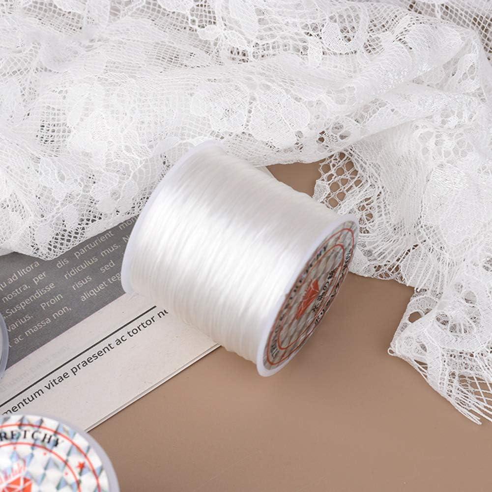 CKANDAY 0,8 mm//50 m Perline e creazione di Gioielli collane Confezione da 4 Corde Elastiche per bracciali per Braccialetti Colore: Nero//Bianco//Marrone//Oro