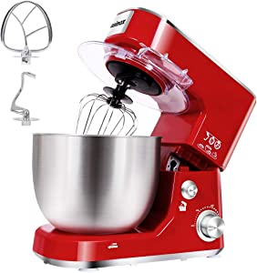 Stand Mixer, CUSIMAX Electric Mixer 800W Tilt-Head Food Mixer with 5-Quart Stainless Steel Bowl, Dough Hook, Mixing Beater and Egg Whisk, Splash Guard, Red