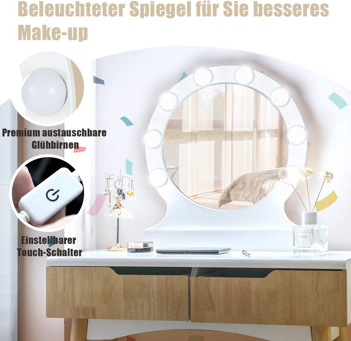 Natur Schminkkommode mit 2 Schubladen Frisierkommode Frisiertisch Holz Make-up Tisch COSTWAY Schminktisch mit LED Beleuchtung Kosmetiktisch mit beleuchtetem Spiegel und Hocker