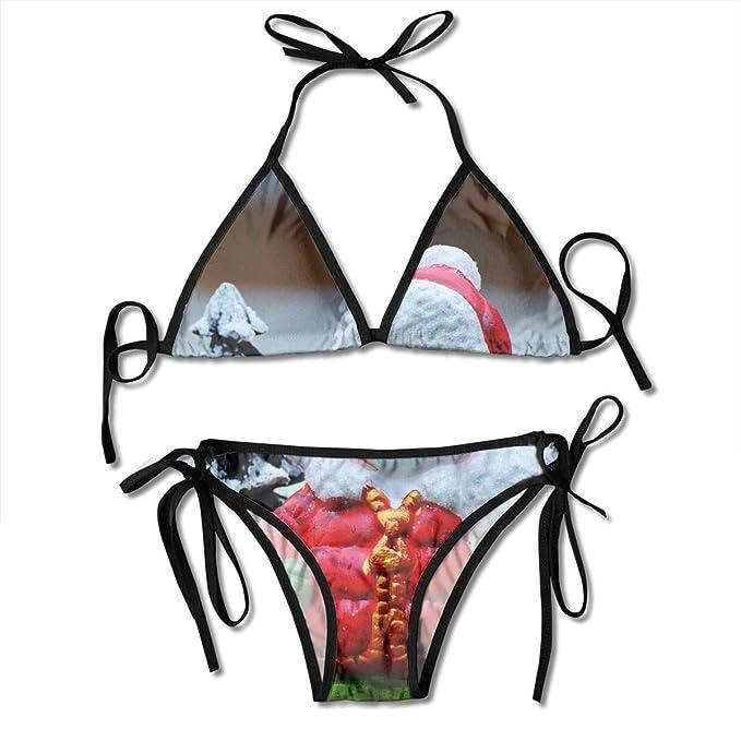 0305270b7dcfa Swimwear Women's Triangle Bralette, Cute Christmas Little Snowman Reindeer  in Red Dress Ladies Women Girl