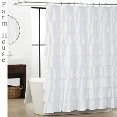 Smocking Ruffle Shower Curtain with Hooks for Bathroom 72 x 72 Inches Texture Fashion (White)