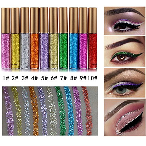 Coosa Glitter Liquid Eyeliner 10PCS 10 Colors Long Lasting Waterproof Sparkling Eyeliner Eye Shadow Pen – 10PCS