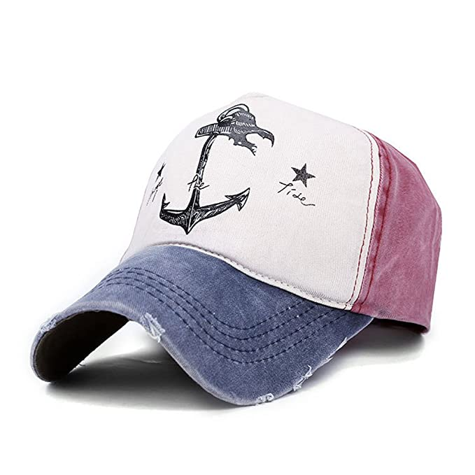 653bbc323b98a Superhappy Vintage Style The Pirate Ships Anchor Printing Multicolor  Adjustable Baseball Cap (Black   Grey) at Amazon Men s Clothing store