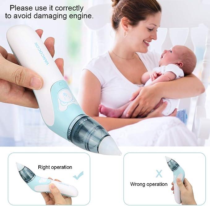 Aspirador eléctrico nasal para bebé, aspirador nasal y aspirador de orejas para recién nacidos y niños pequeños: Amazon.es: Bebé