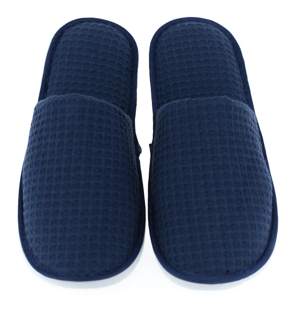 LUXEHOME Disposable Slippers, Closed Toe Waffle Cotton Guest Spa Slippers, 2 Size Slippers Fit Most Women and Men, Navy Blue and White, 5 Pairs by LUXEHOME