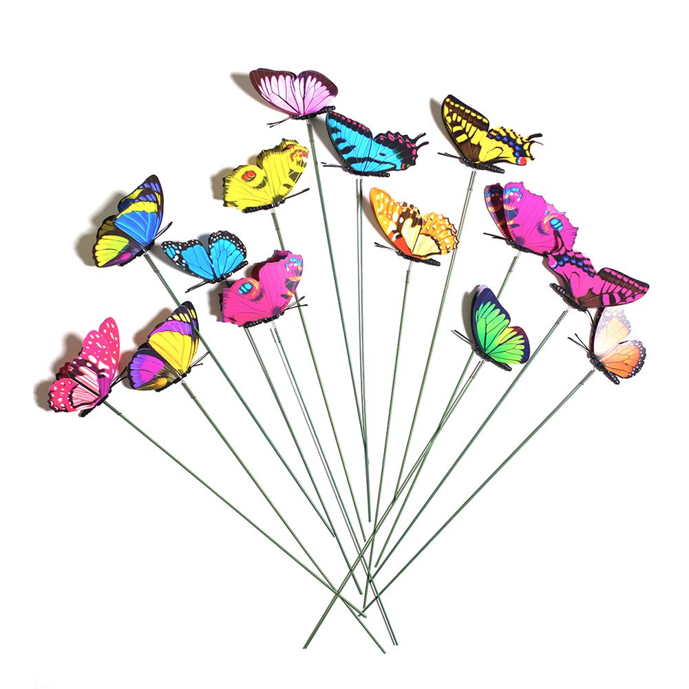 VGoodall Butterfly Stakes, 50pcs 9cm Garden Butterfly Ornaments, Waterproof Butterfly Decorations for Indoor/Outdoor Yard, Patio Plant Pot, Flower Bed, Home Decoration