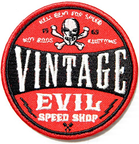 VINTAGE EVIL SPEED SHOP HOT ROD CUSTOMS Logo Sign Racing Patch Iron on Applique Embroidered T shirt Jacket BY SURAPAN