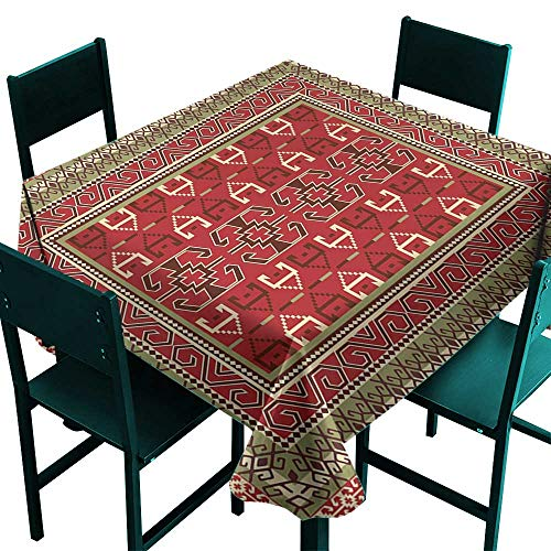 Warm Family Turkish Pattern Fabric Dust-Proof Table Cover Rectangular Frames and Abstract Shapes with Ottoman Origins for Kitchen Dinning Tabletop Decoration W63 x L63