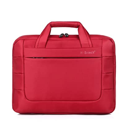 "MF e-Mart Double Layer Thickening 14"" Laptop Bag Women's One Shoulder Laptop Handbag Men's Business Paper Case Color Red BW-194"