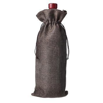 5 fundas para botellas de vino con cordón de arpillera ...