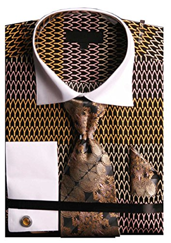 Men`s Wavy Print Two Tone French Cuff Shirt Tie Hanky Cufflinks - Gold 16.5 36-37 (Two Tone Mens Shirts Cuff French)