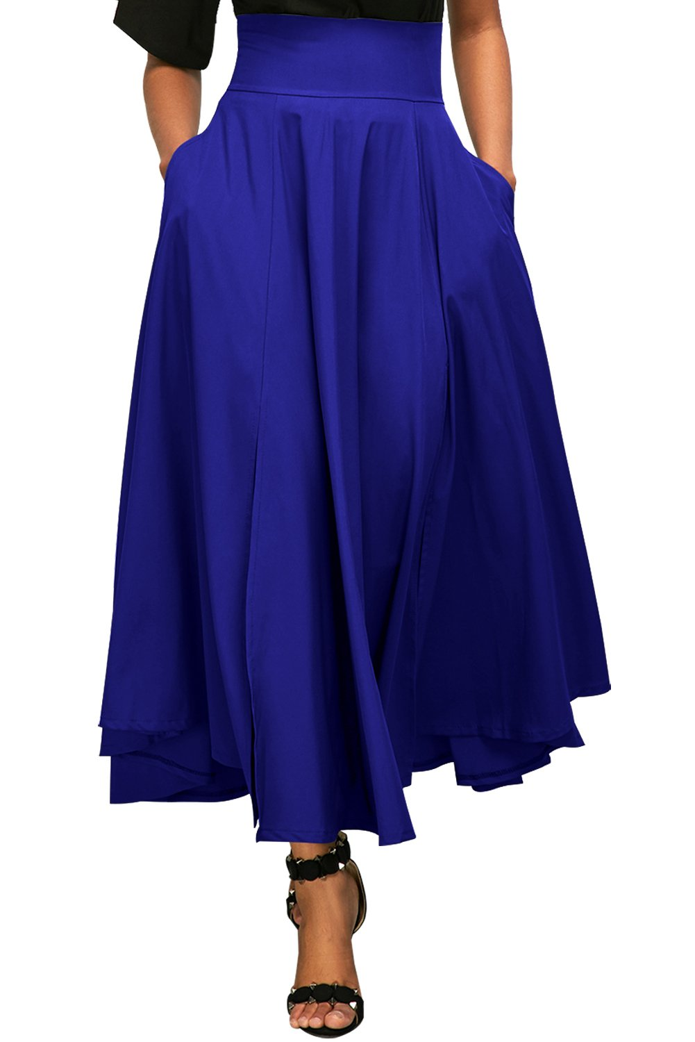 Vanbuy Women's High Waist Long Skirt Front Slit Pleated Midi Skirt with Pockets Z73-65053-Blue-XL