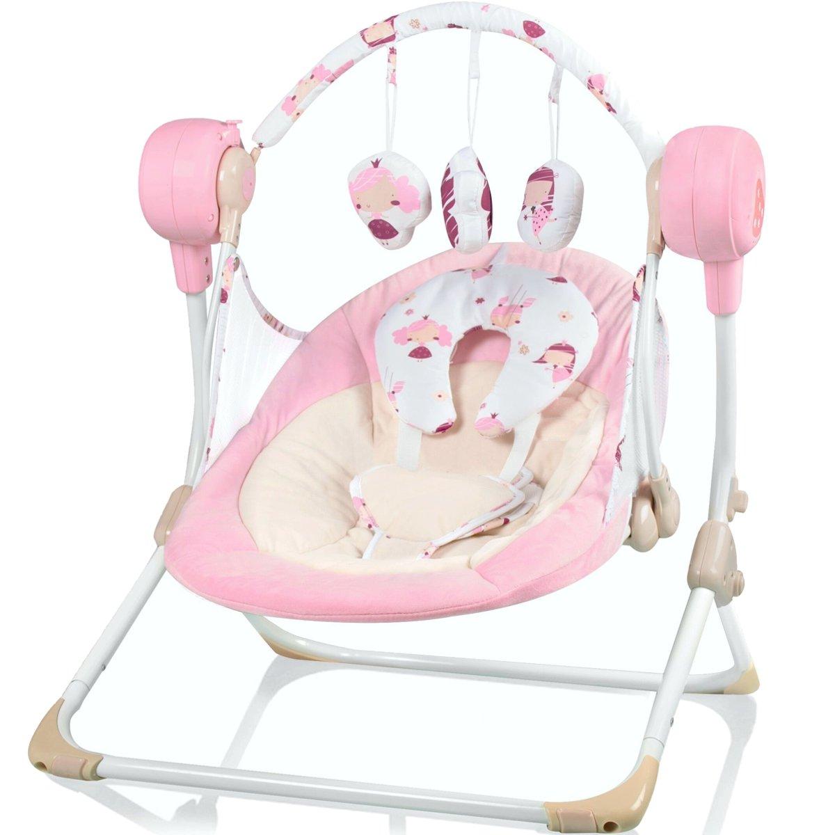 Babyschaukel (vollautomatisch 240V) mit 5 Schaukelgeschwindigkeiten und 16 Melodien (HELLBRAUN) Stimo24
