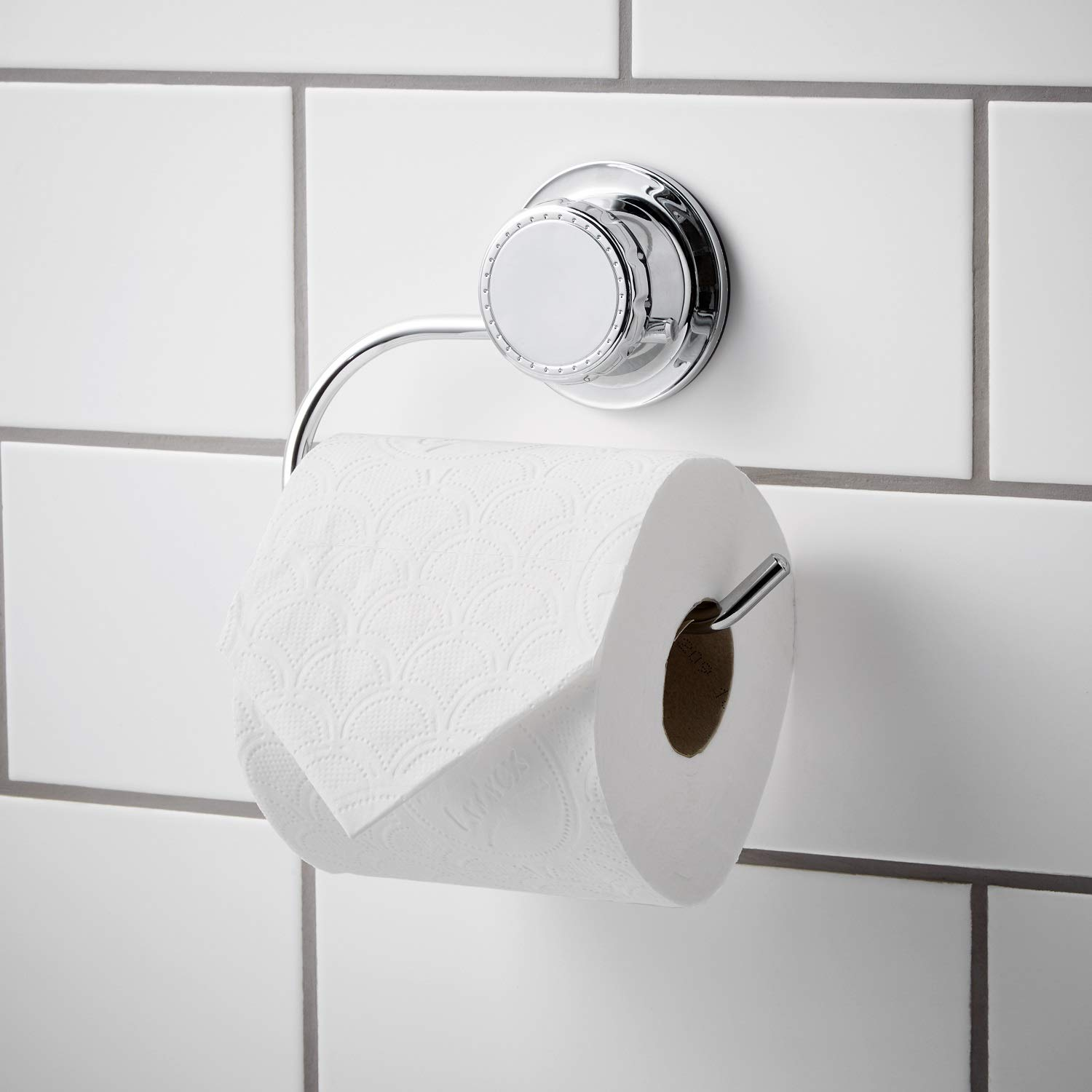 Bloomsbury Mill - Extra Strong Suction Cup Toilet Roll Holder - Bathroom Tissue Dispenser - Anti-Rust - Chrome