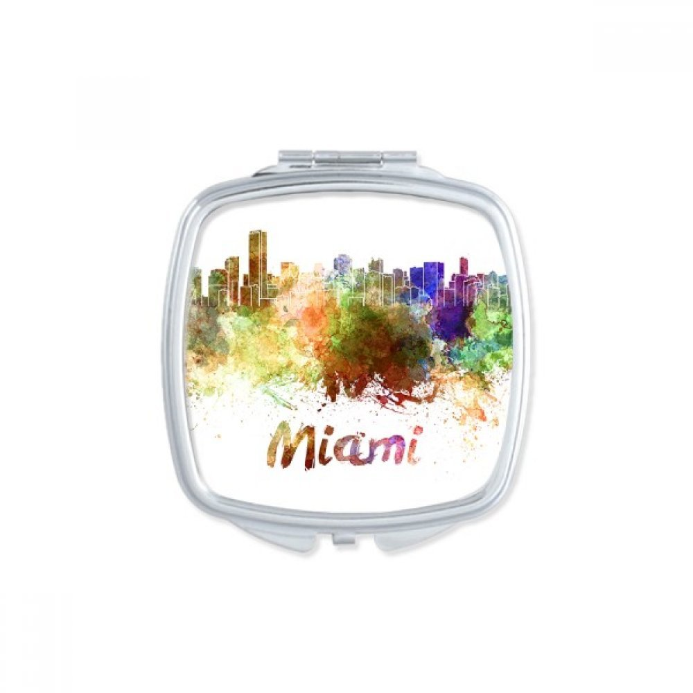 Miami America Country City Watercolor Illustration Square Compact Makeup Pocket Mirror Portable Cute Small Hand Mirrors Gift