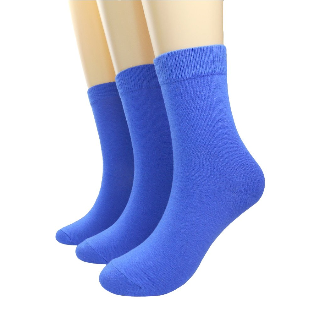 Women's Candy Color Comfort Cotton Knitted Crew Sock (Royal Blue/ 3 pack)