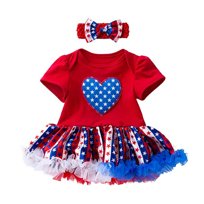 4150f43bb Mulfei 4th of July Toddler Baby Girl American Flag Romper Tutu Dress with  Headband (Red