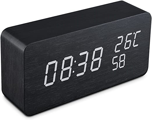 Qoosea Reloj Despertador LED Reloj de Alarma de Madera Comando de ...