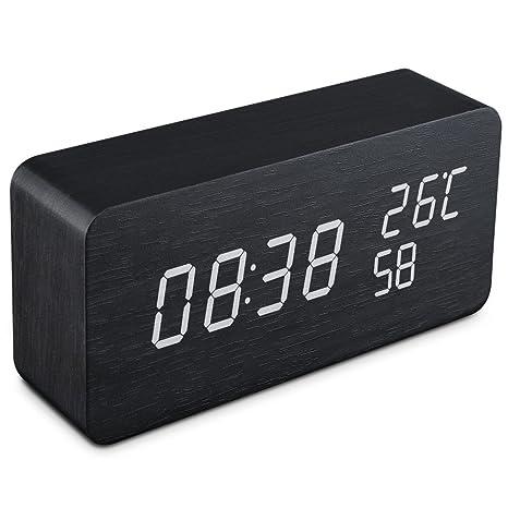 Qoosea Reloj Despertador LED Reloj de Alarma de Madera Comando de Voz táctil Relojes Digitales USB Reloj de Madera Moderno 3 Niveles Brillo Ajustable ...