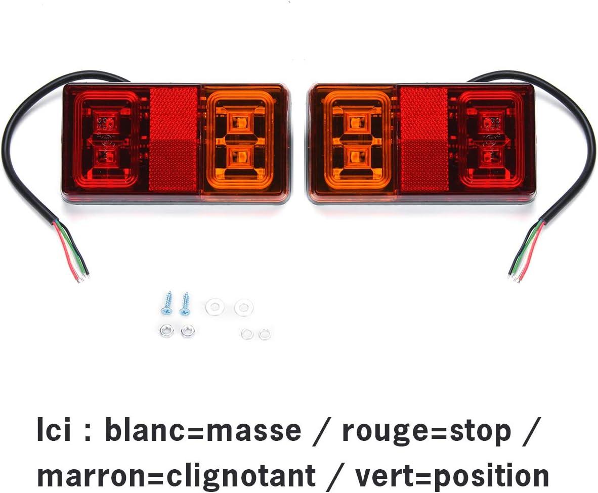 2 Pcs WildAuto Impermeabile Fanali Posteriori Rimorchio Luci Posizione LED Lampadine Indicatori di Parcheggio 2x10 LED 12V//24V Universale per Veicolo Rimorchio Caravan Camion Trattore Autocarro