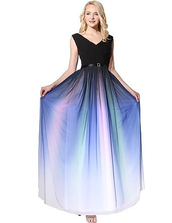 1bc891c396100c Clearbridal Damen Formale Chiffon Abendkleid Farbverlauf Bandage Maxikleid  Brautjungfer Kleid SD341 UK16