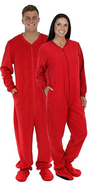 28fe38785f9f Footed Pajamas - Bright Red Adult Fleece Onesie Christmas Supplies