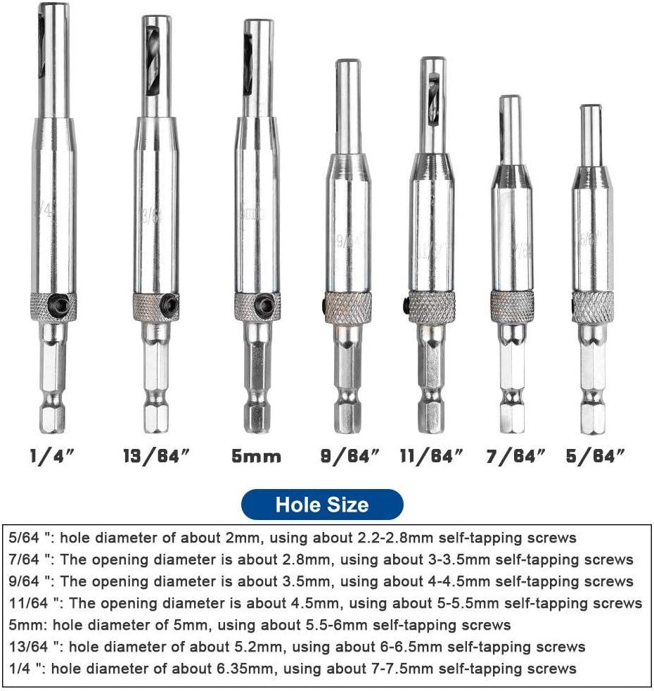 armarios bisagras Juego de 10 brocas de bisagra para taladro HSS autocentrador para puertas de madera carpinter/ía taladro perforador 5//64 7//64 9//64 11//64 13//64 1//4 5 mm