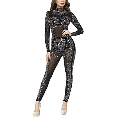 ccc6c458a31 Amazon.com  Kafiloe Womens Sexy Rhinestone See Through Mesh Party Cocktail  Bodycon One Piece Jumpsuit Romper Clubwear  Clothing